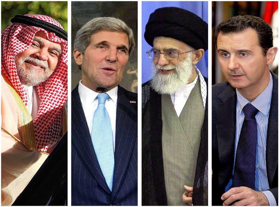 (From left) Prince Bandar bin Sultan, Saudi intelligence chief; US Secretary of State John Kerry; Iran's Ayatollah Khamenei and Syria's President, Bashar al-Assad