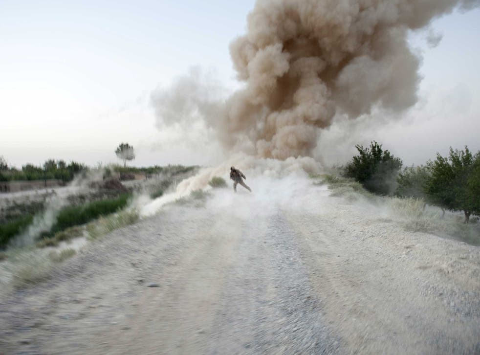 An IED explodes in Helmand province where the offence is alleged to have taken place two years ago