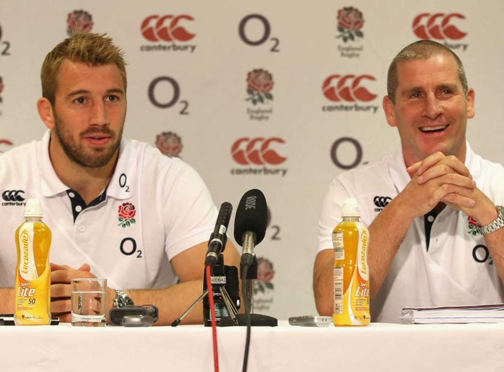 England captain Chris Robshaw (left) and coach Stuart Lancaster face the media in Leeds yesterday