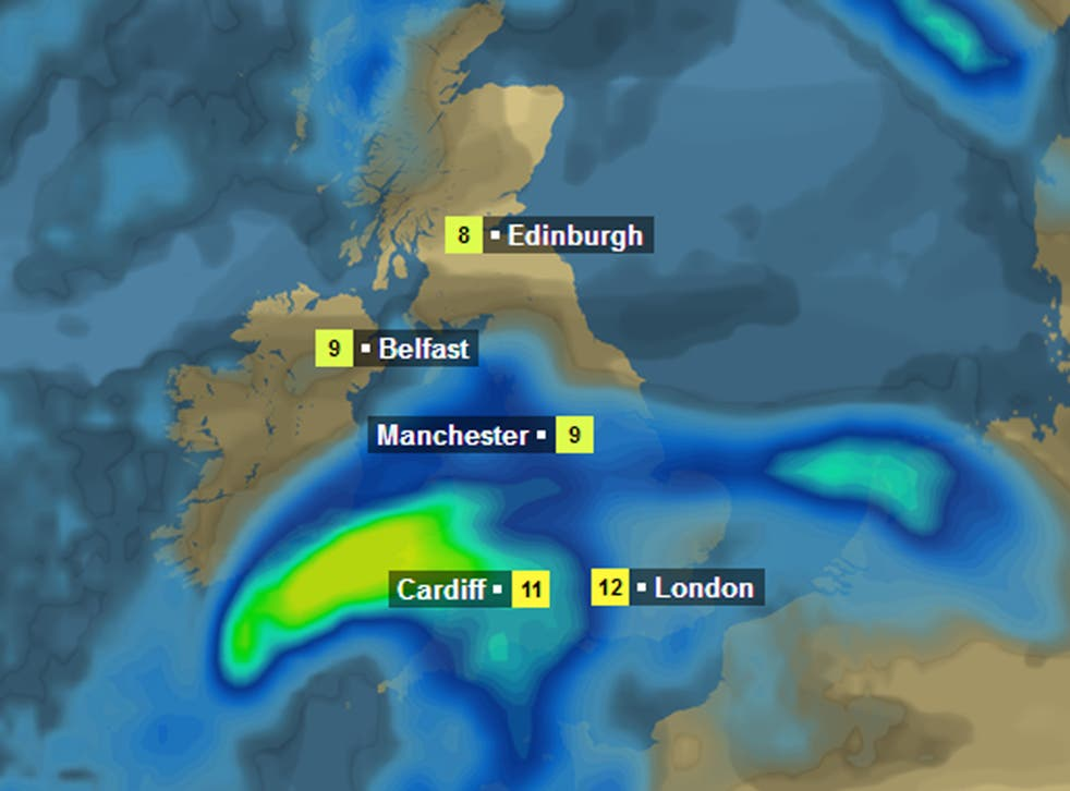 How the BBC weather site shows the heavy rain forecast along with gales on Sunday night