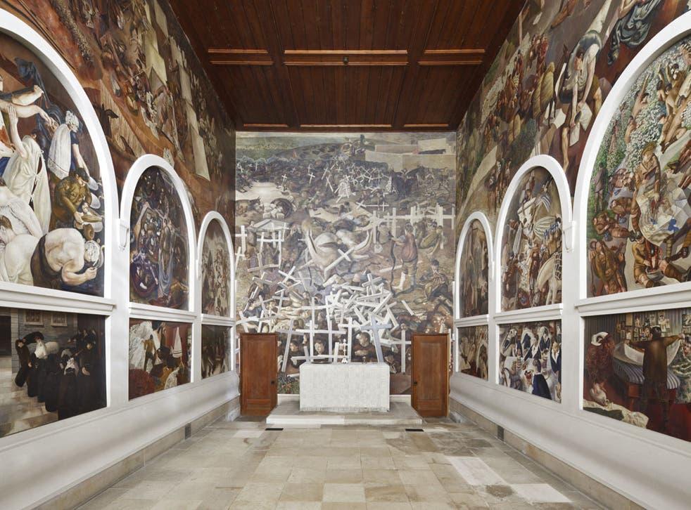 The interior of the Sandham Memorial Chapel in Burghclere, Berkshir