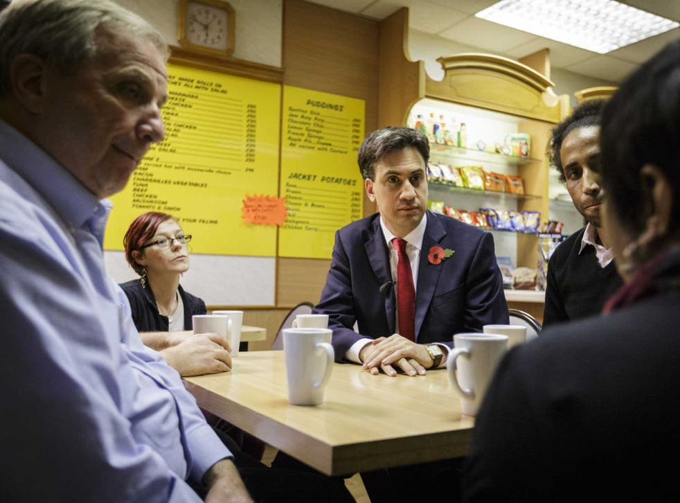 Shop talk: Ed Miliband discusses the living wage in a Bristol café