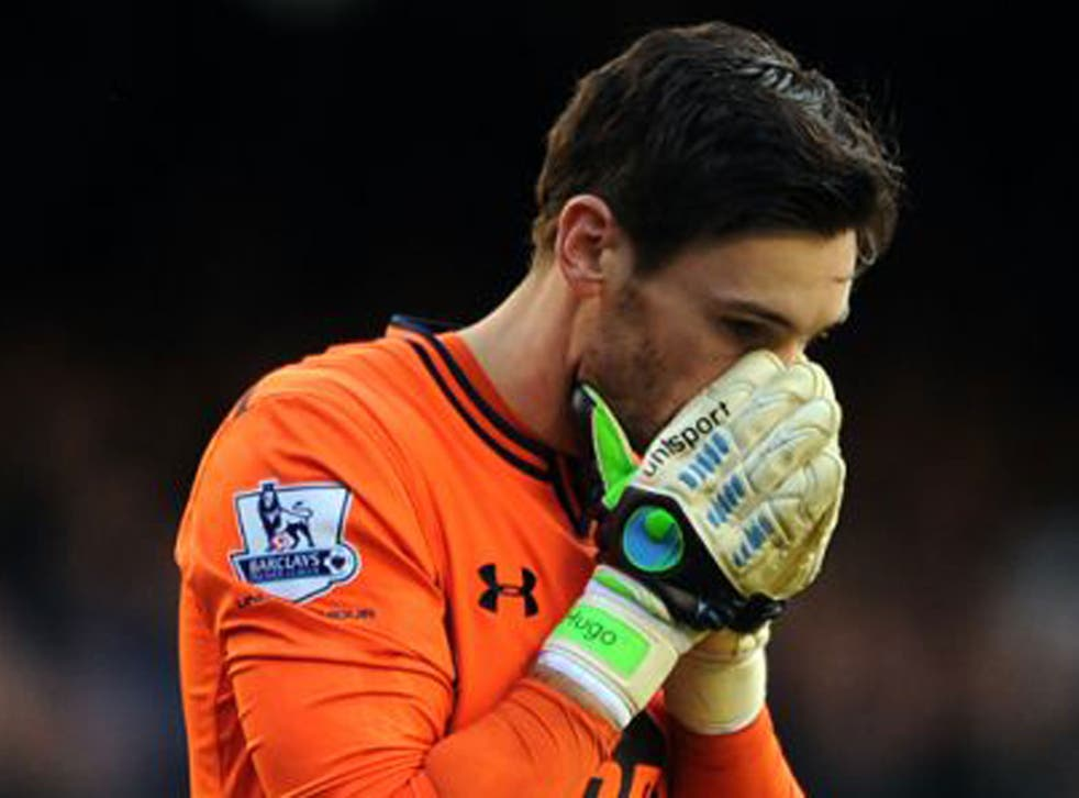 Hugo Lloris stays on the field during Tottenham's draw with Everton despite being having earlier lost consciousness