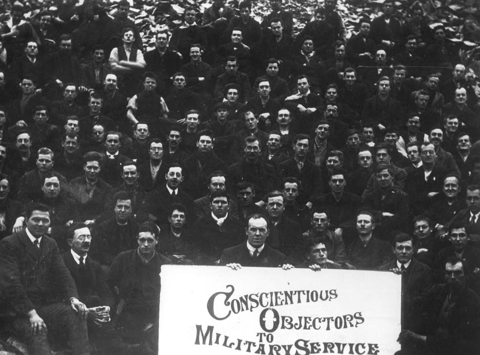 Conscientious objectors face the camera at Dyce Camp, during the worst days of fighting on the Western Front