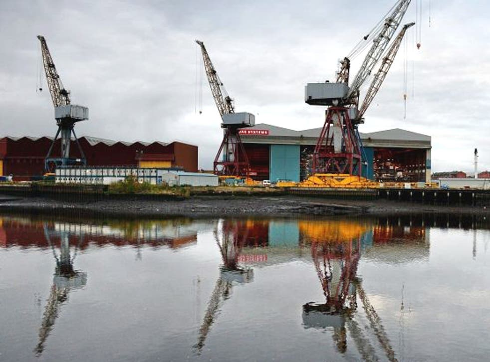 A general view of the BAE systems yard at Govan on the Clyde