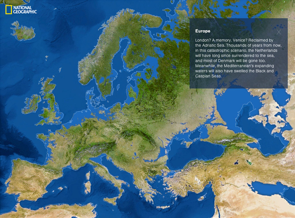 A map showing what Europe may look like if the ice sheets melted