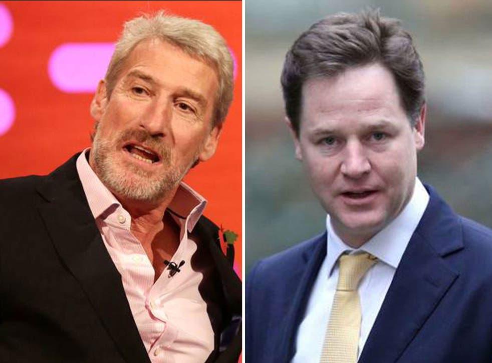 Nick Clegg as criticised Jeremy Paxman's 'sneering' attitude towards politics