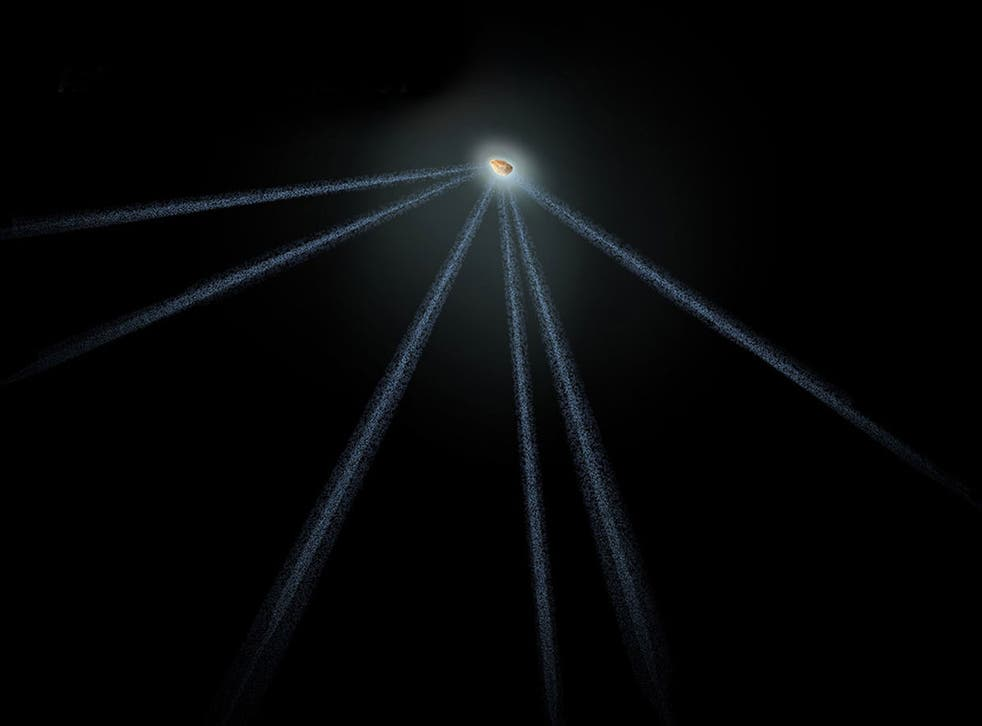 An illustration of active asteroid P/2013 P5