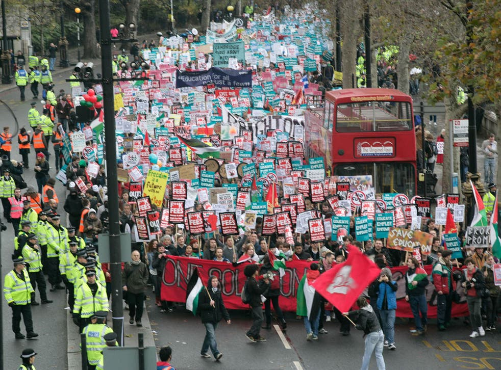 Students protest against tuition fees in London in 2012