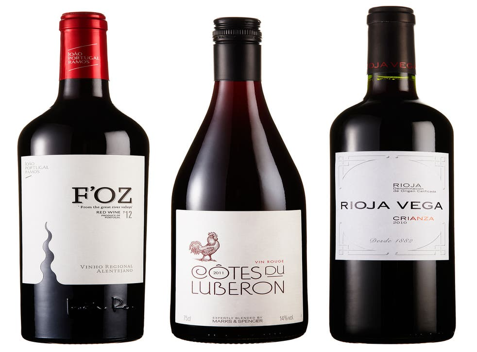 F'Oz Alentejo Red 2011; Côtes du Luberon Rouge 2011; Rioja Vega Crianza 2009/10