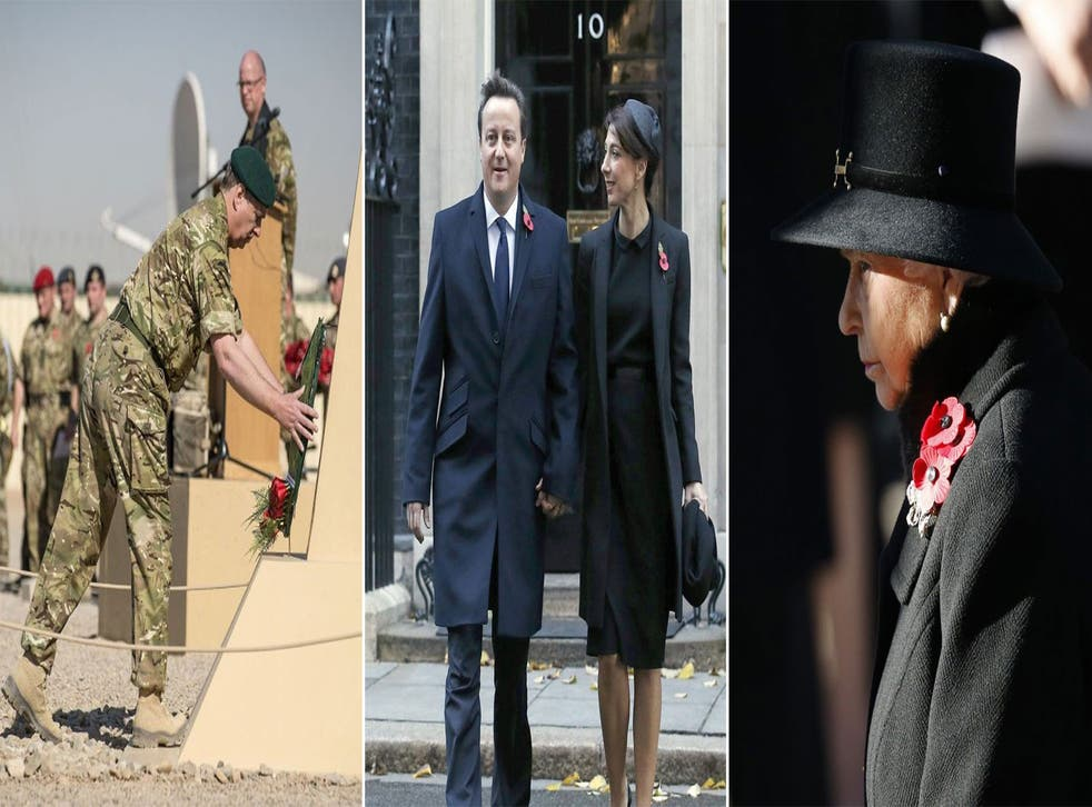 The Duke of York laying a wreath as he joined soldiers in Camp Bastion; Prime Minister David Cameron and his wife Samantha leave Downing Street; Queen Elizabeth II pays her respects at the Cenotaph in central London