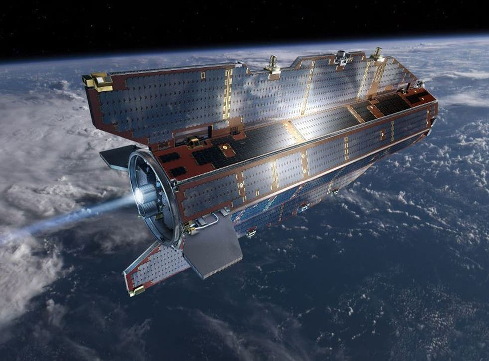 In his image from the European Space Agency ESA, research  satellite GOCE flies above earth