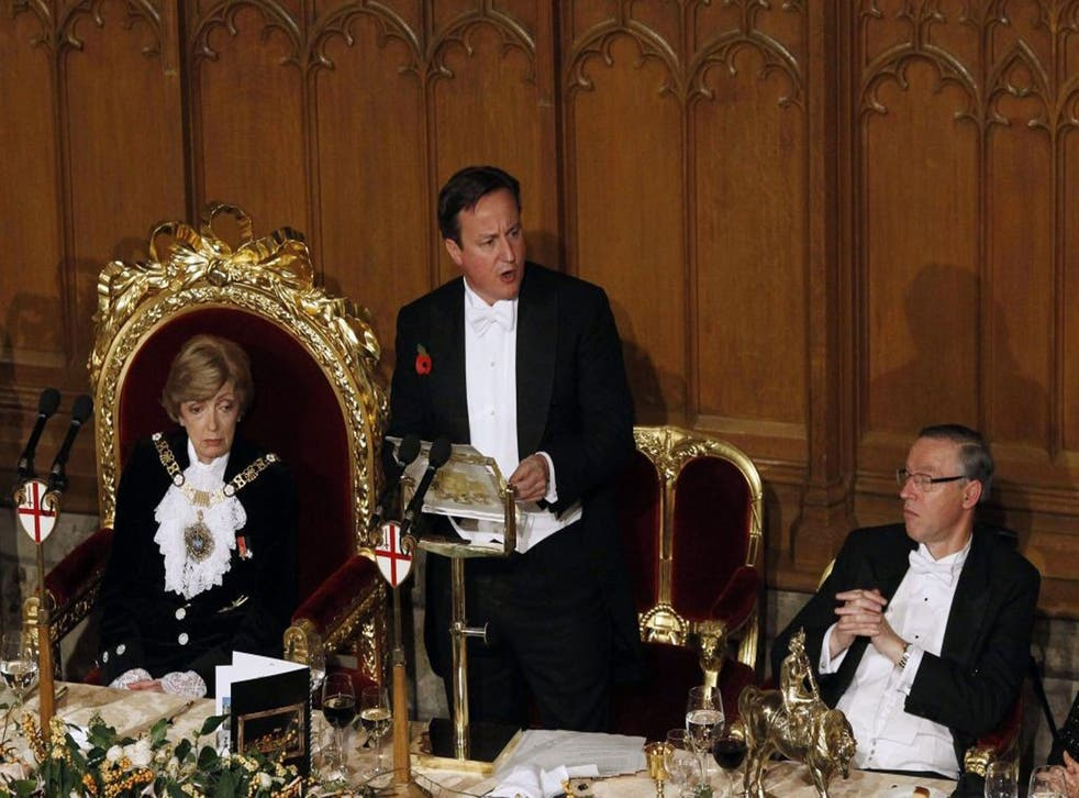 David Cameron at the Lord Mayor's banquet, where he called for a permanent culture of austerity