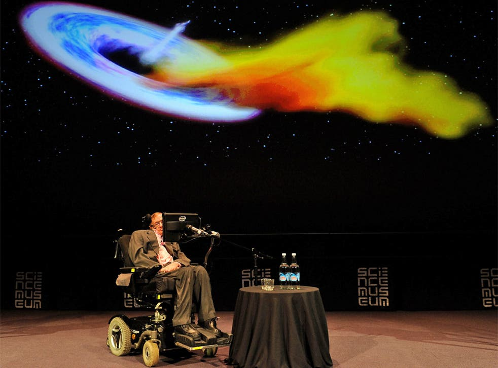Professor Stephen Hawking during a talk at the Science Museum