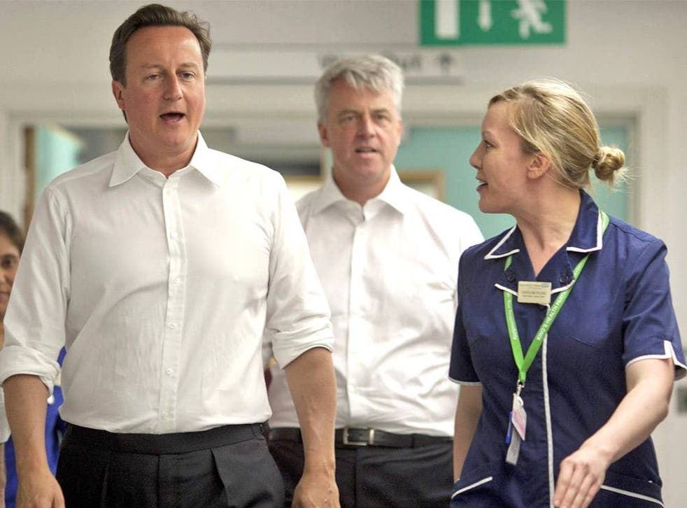 David Cameron in 2009 said, 'With the Conservatives there will be no more of the tiresome, meddlesome, top-down restructures that have dominated the last decade of the NHS'. Andrew Lansley (centre) went on to launch one of the largest reorganisations in N