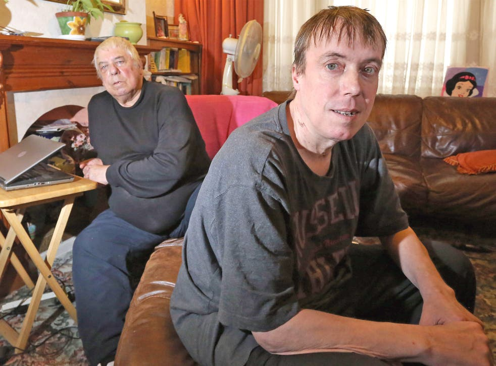 Paranoid schizophrenic Lloyd Drew at home with his father, Ray