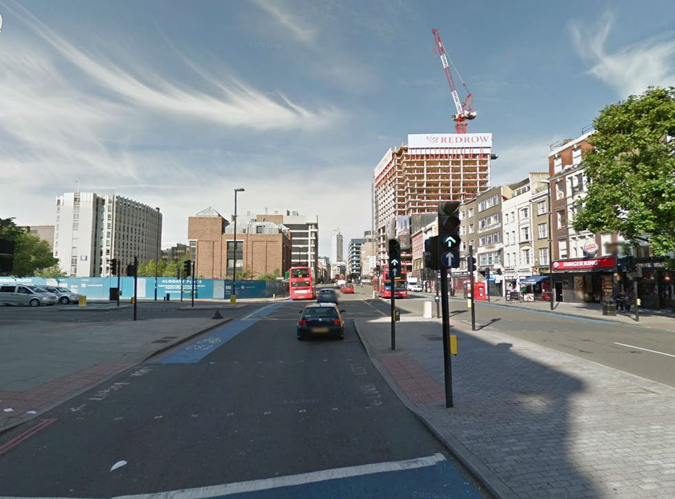 The unnamed man died in hospital at around 04:00 GMT this morning after the collision with a bus at the junction of Whitechapel Road and Commercial Road in Aldgate, east London, at around 11.30pm last night.