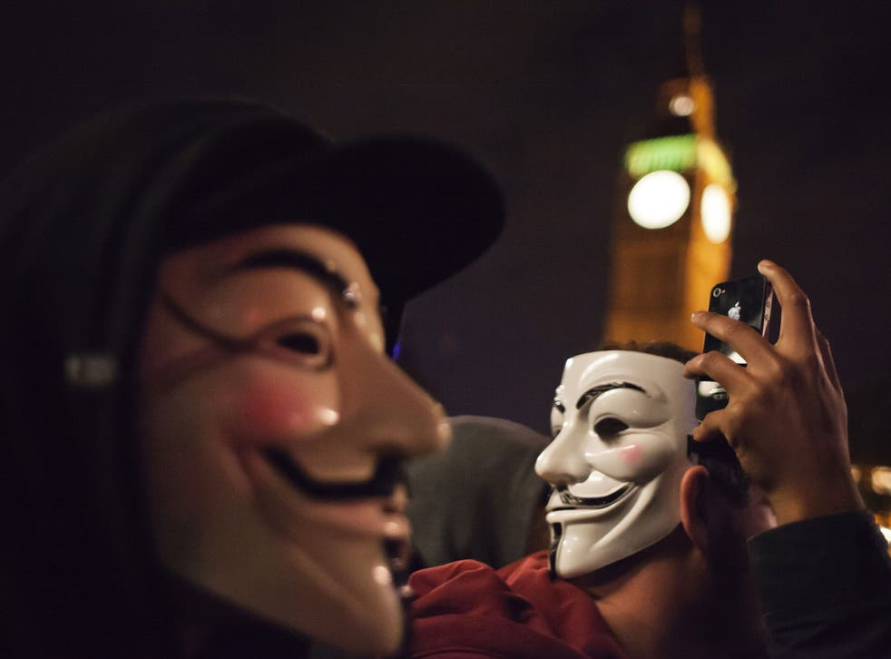 A demonstration organized by Anonymous group was held to protest against the austerity measures adopted by the governement - some people in the crowd also feel at odds with political parties