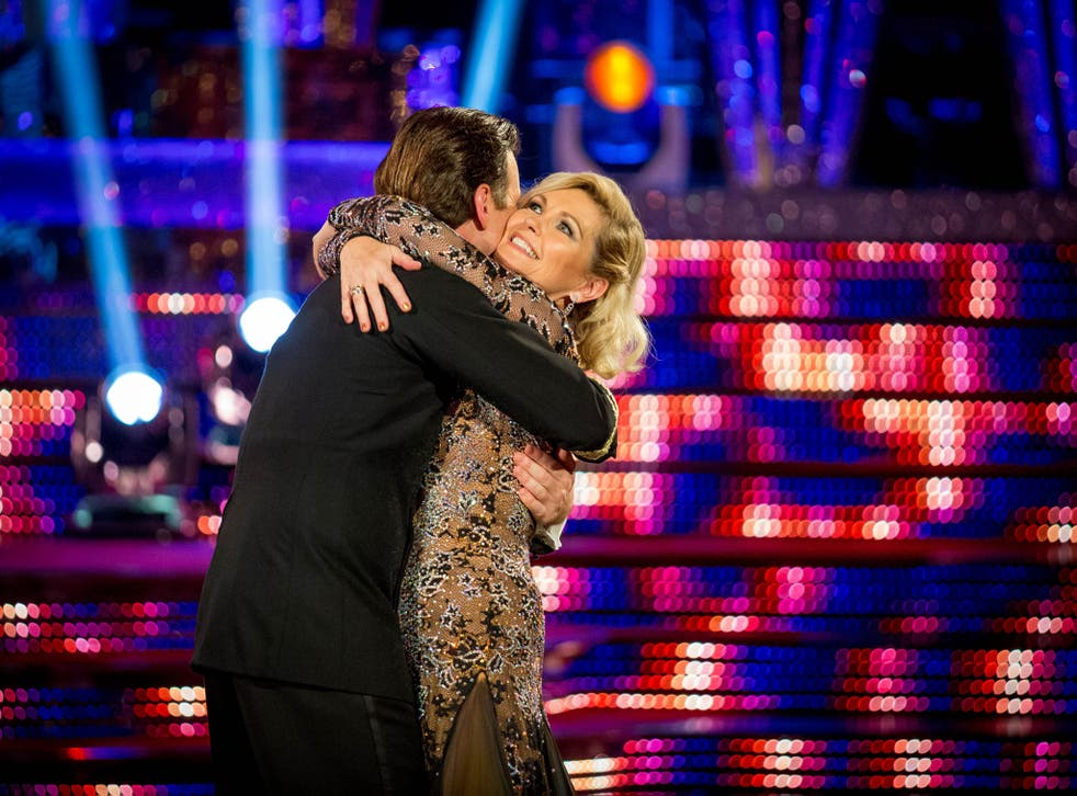 Fiona Fullerton hugs her partner Anton as she leaves Strictly Come Dancing 2013