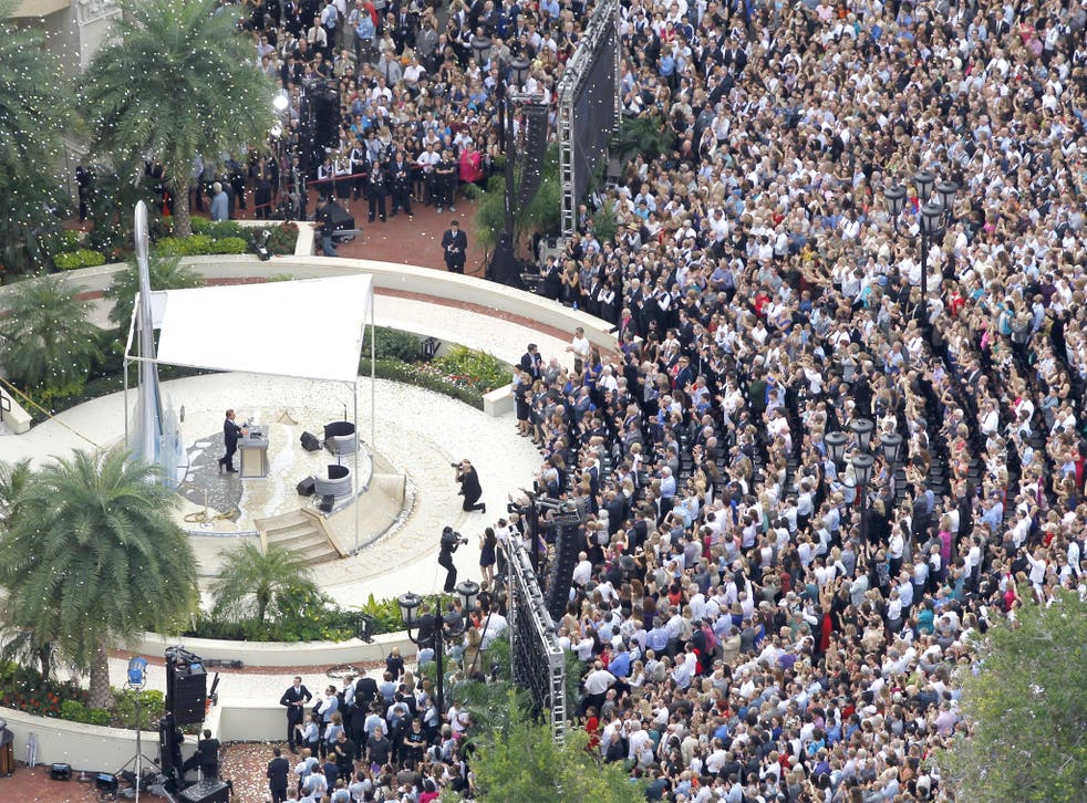 Confetti falls as the Church of Scientology leader David Miscavige dedicates the Flag Building in Clearwater, Florida