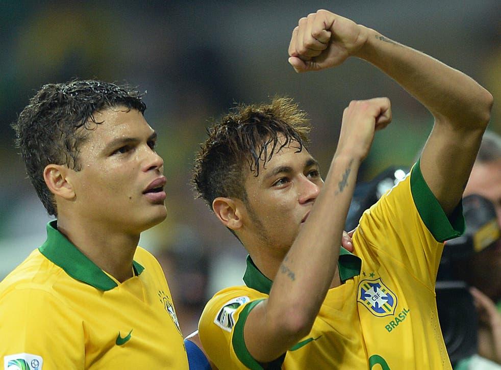 Thiago Silva and Neymar celebrates Brazil's Confederations Cup semi-final win over Uruguay