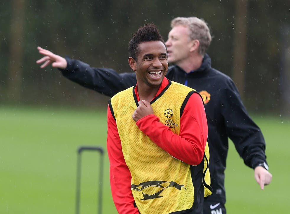 Anderson with Manchester United manager David Moyes