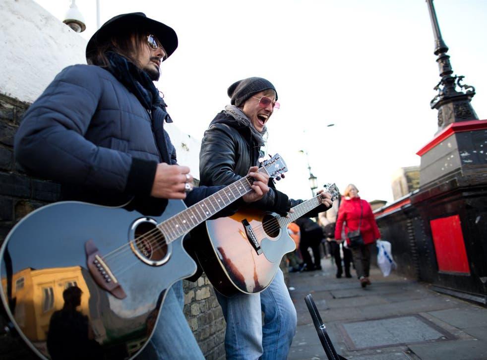 Buskers perform in Camden
