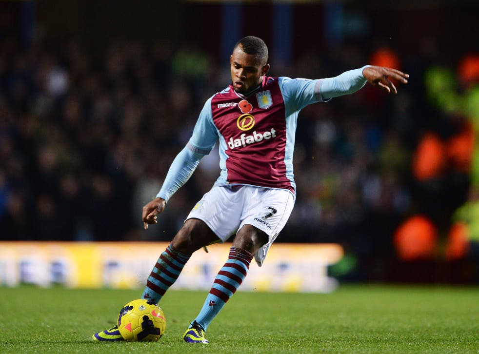Leandro Bacuna of Aston Villa scores his team's opening goal during the Barclays Premier League match between Aston Villa and Cardiff City