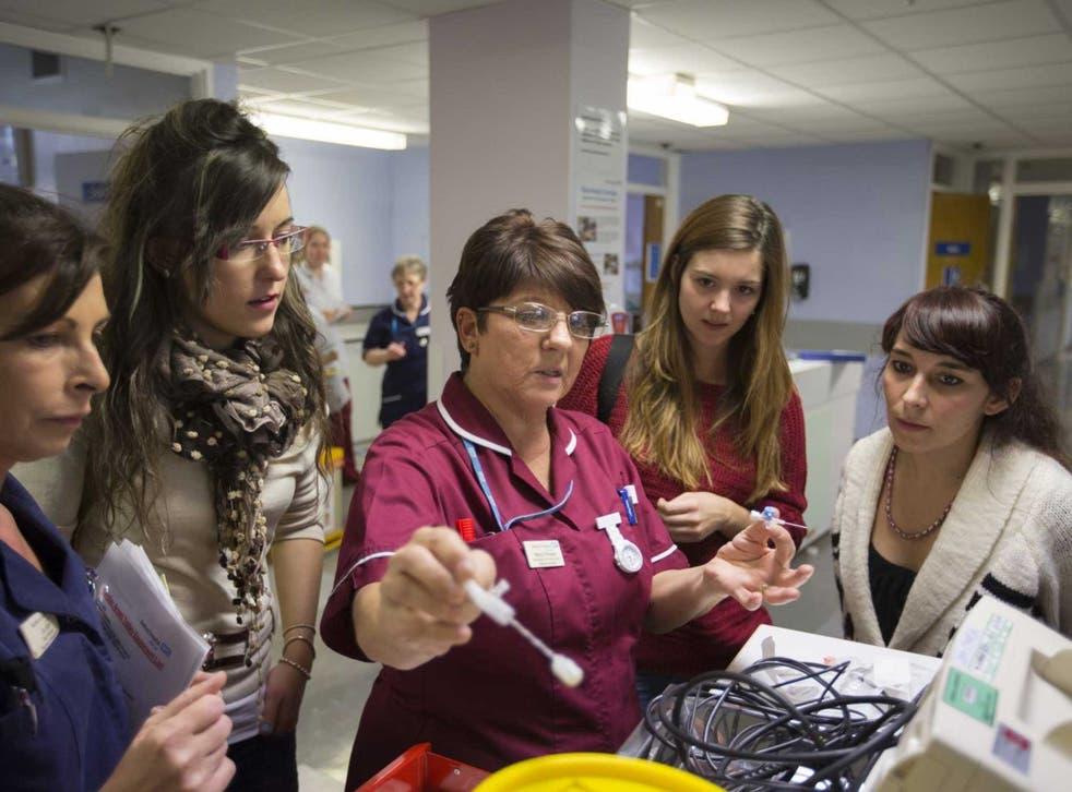 New recruits: Bedford Hospital ward sister Marilyn Flanagan instructs nurses from Spain