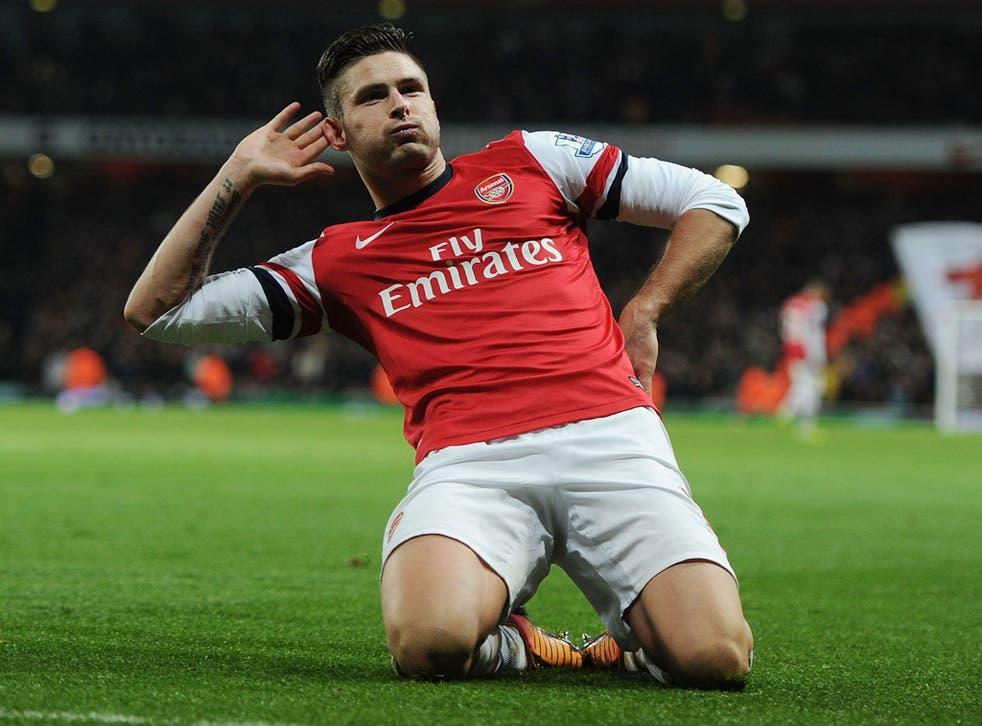 Olivier Giroud after scoring Arsenal's second goal