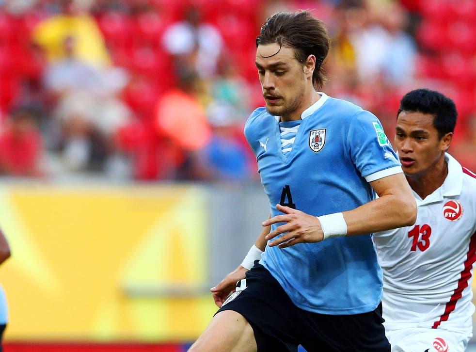Sebastian Coates in action for Uruguay