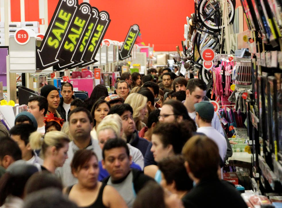 A crowd of shoppers browse at a Target store in America during Black Friday last year.