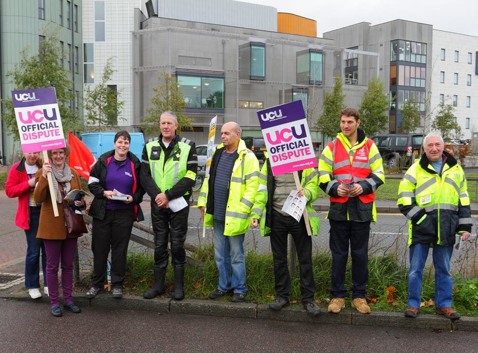 A UCU picket line at the University of East Anglia on in November 2014
