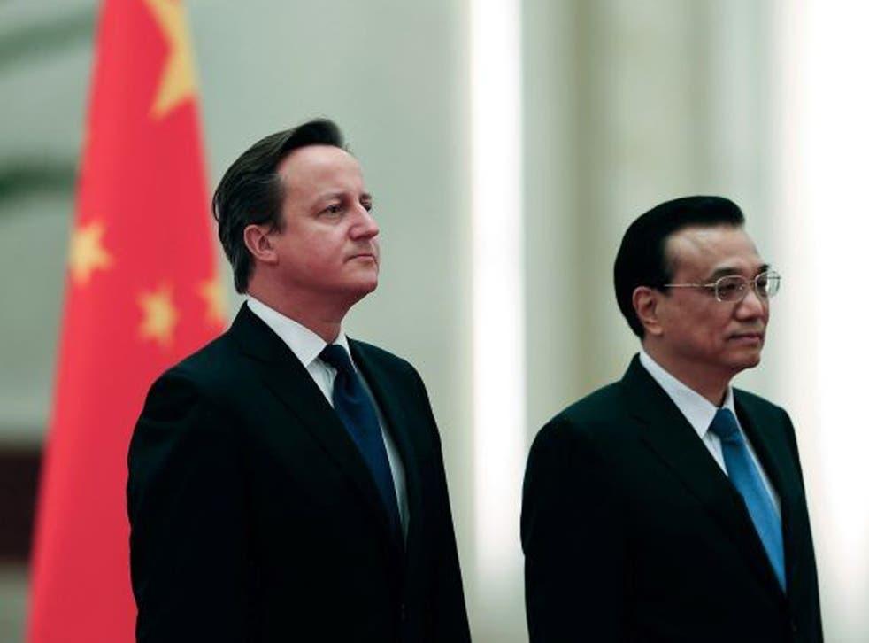 Chinese Premier Li Keqiang (right) and David Cameron (L). Li Keqiang will visit the UK this week