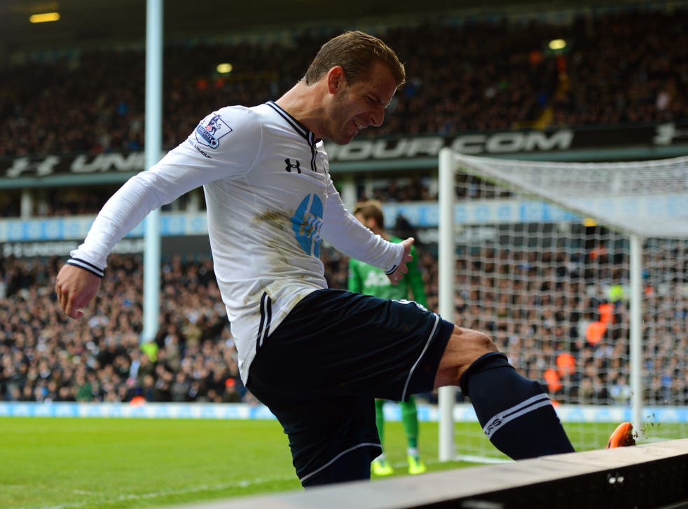 Tottenham striker Roberto Soldado kicks the advertising boards in frustration during the Premier League draw with Manchester United