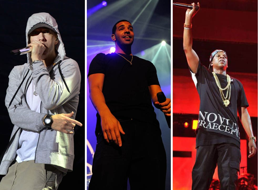 Eminem, Drake and Jay Z have joined most streamed artist Macklemore & Ryan Lewis in Spotify's 2013 hot list