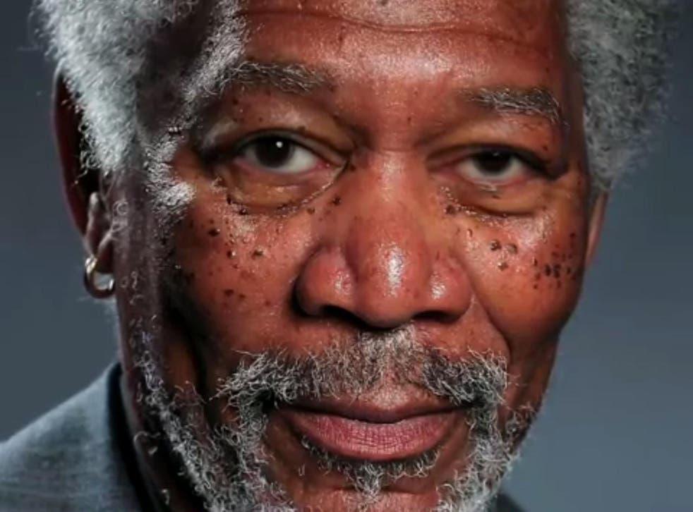 Kyle Lambert's finger painting portrait of Morgan Freeman