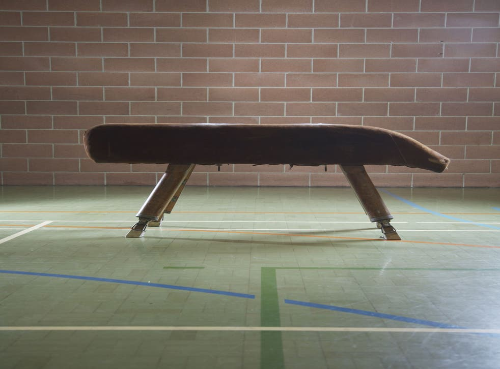 File: A pommel horse in a gymnasium. Trevyn Hope Joslin,12, died after catching her foot on the apparatus at a Norfolk school