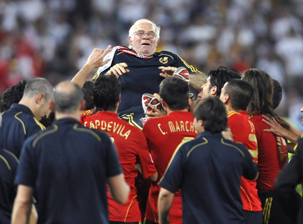 Luis Aragones pictured after victory at Euro 2008