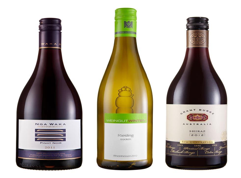 2011 Nga Waka Pinot Noir, Martinborough; 2012 Shiraz, 5th Generation, Grant Burge, Barossa Valley; 2012 Stefan Winter Riesling Trocken, Rheinhessen