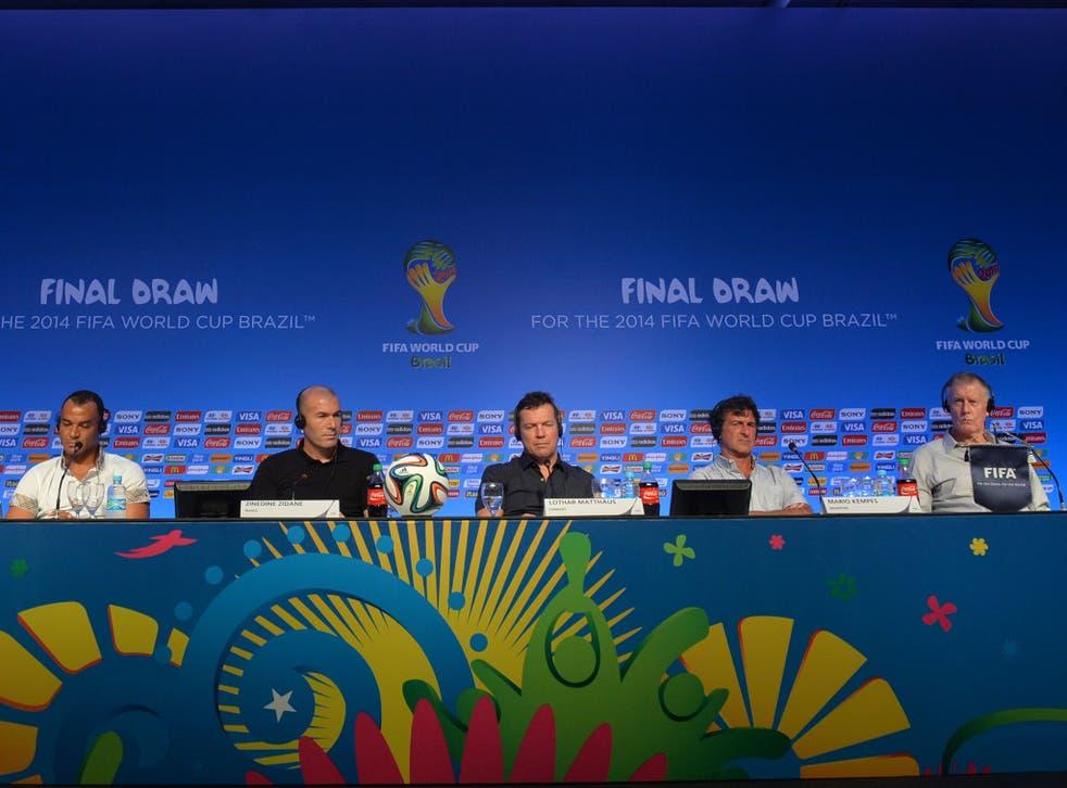 (L-R) Brazilian Cafu, Frenchman Zinedine Zidane, German Lothar Matthaus, Argentinian Mario Kempes and Englishman Sir Geoff Hurst will assist the real Group Stage draw