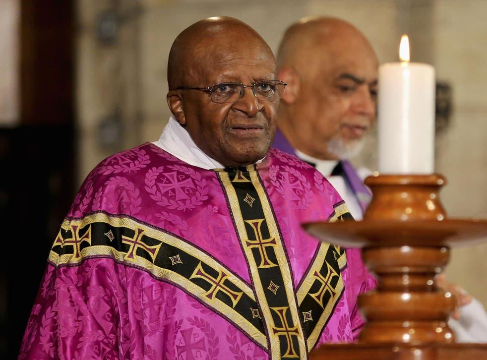 Former Archbishop and veteran anti-apartheid campaigner Desmond Tutu holds a mass in Cape Town