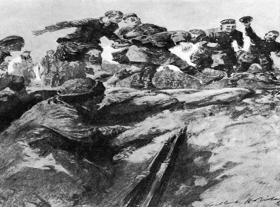 Detail of 'Christmas Truce in the Trenches : Friend and Foe Join in a Hare Hunt' by Gilbert Holliday, drawn from a description by an eye witness rifleman