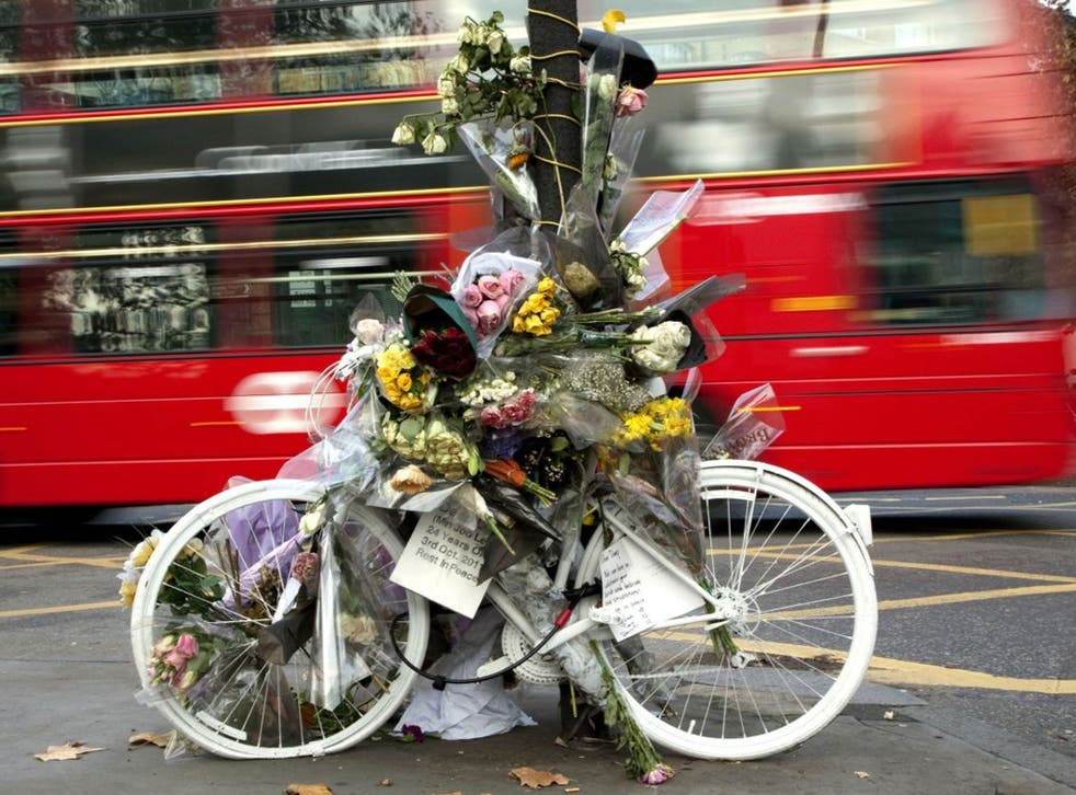 A memorial at King's Cross, London, to cyclist Deep Lee, 24