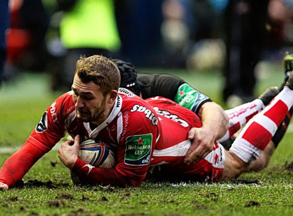 Wing Martyn Thomas scored two tries in Gloucester's victory in the Scottish capital
