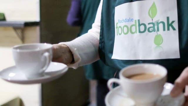 Food bank volunteers take a break in Rochdale run by Trussell Trust