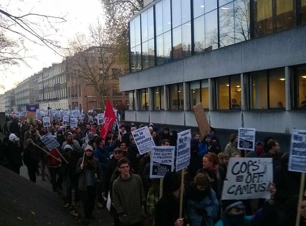 Students protesting the presence of police at the University of London