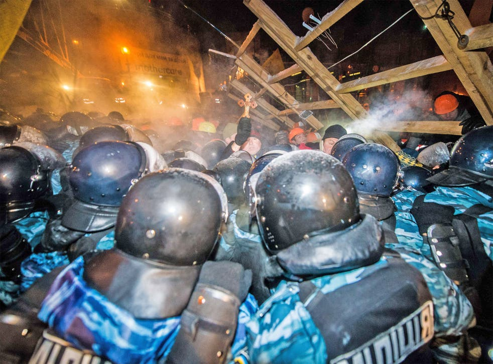 Thousands of riot police were forced to withdraw