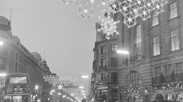 Regent Street snowflake Christmas lights, 1955