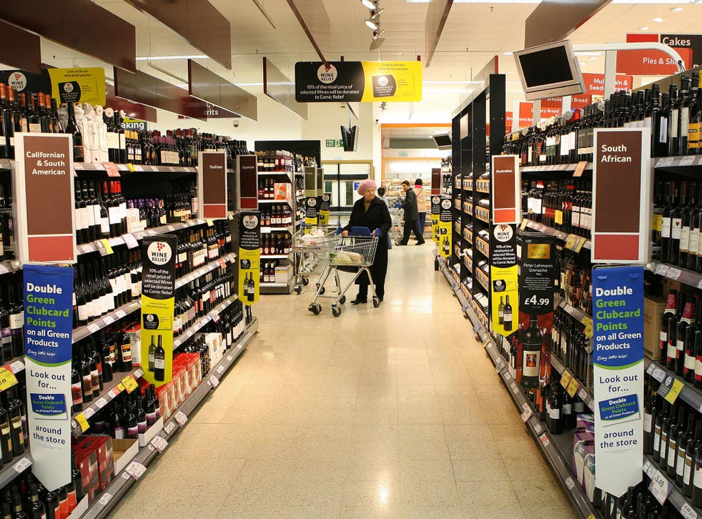 Last year, an average of £7.80 went on wine, beer and spirits brought from the off licence or supermarket